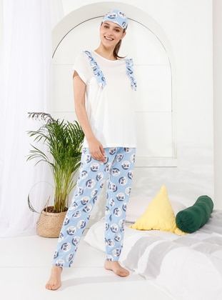 Multi - Blue - Crew neck - Multi -  - Pyjama - İnşirah