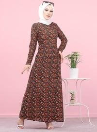 Haki - Çiçekli - Çok renkli - Yuvarlak yakalı - Astarsız - Elbise
