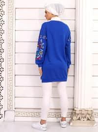 Saxe - Floral - Crew neck - Acrylic -  - Tunic