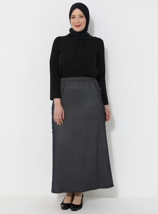 Navy Blue - Unlined - Viscose - Plus Size Skirt