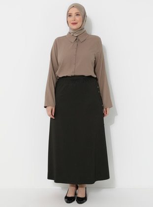 Khaki - Unlined - Viscose - Plus Size Skirt - GELİNCE