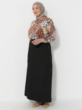 Black - Unlined - Viscose - Plus Size Skirt - GELİNCE