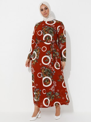 Multi - Tan - Floral - Multi - Unlined - Crew neck - Plus Size Dress