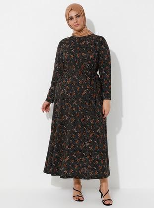 Multi - Tan - Floral - Unlined - Crew neck - Plus Size Dress
