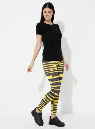 Yellow - Stripe - Gym Leggings