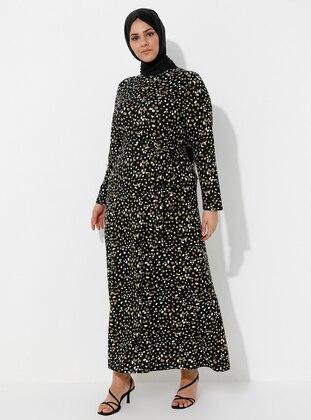 Khaki - Multi - Multi - Unlined - Crew neck - Plus Size Dress
