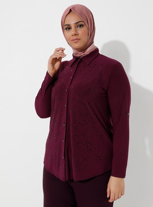 Fuchsia - Point Collar - Plus Size Blouse - GELİNCE