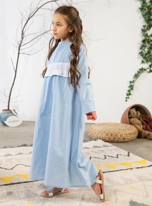 Crew neck -  - Unlined - Blue - Girls` Dress