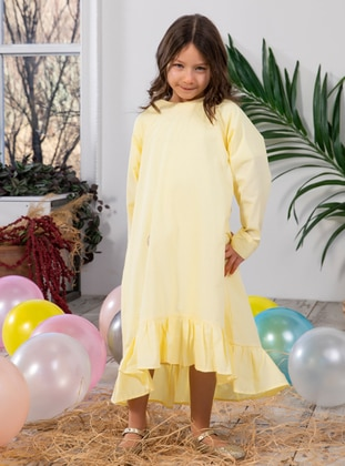 Crew neck -  - Unlined - Yellow - Girls` Dress