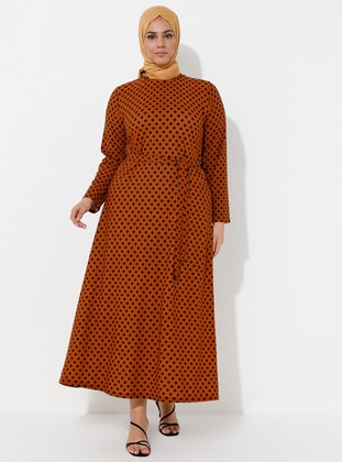 Tan - Polka Dot - Unlined - Crew neck - Plus Size Dress