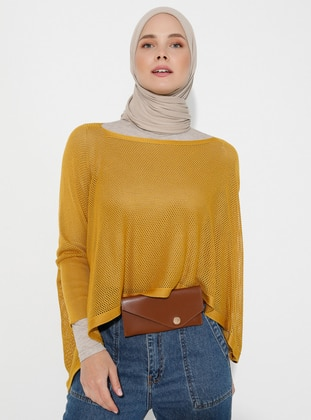 Mustard - Unlined - Acrylic -  -  - Knit Ponchos