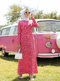 Pink - Multi - Crew neck - Unlined - Dress