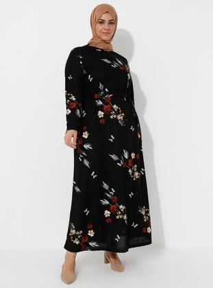 Multi - Black - Floral - Unlined - Crew neck - Plus Size Dress