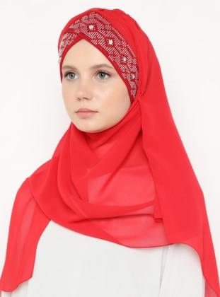 Red - Plain - Litho - Shawl