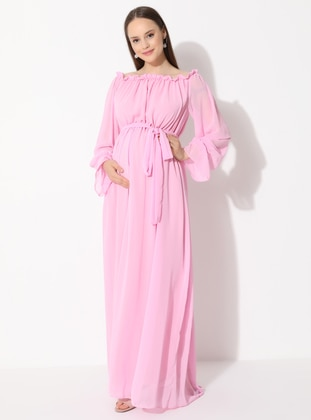 Pink - Crew neck - Fully Lined - Viscose - Maternity Dress - Moda Labio