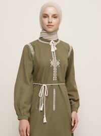 Haki - Çin yakası - Astarsız kumaş - - Elbise