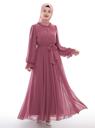 Dusty Rose - Crew neck - Unlined - Viscose - Dress