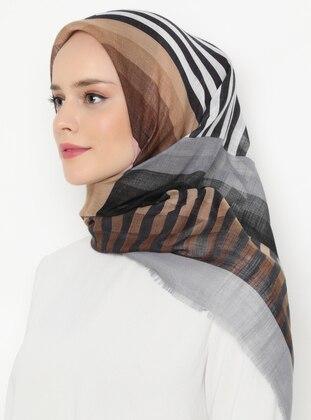 Gray - Printed - Viscose - Scarf