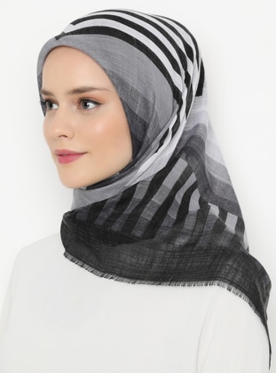 Gray - Black - Printed - Viscose - Scarf