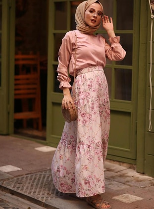 Pink - Floral - Unlined -  - Skirt