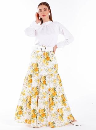 Yellow - Multi - Unlined -  - Skirt