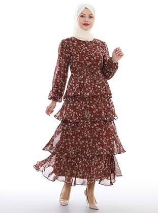 Brown - Floral - Crew neck - Unlined - Viscose - Dress