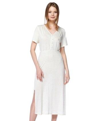 Beige - V neck Collar - Linen - Viscose - Nightdress