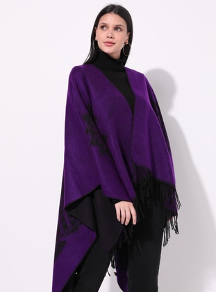 Purple - Multi - Unlined - Acrylic -  - Wool Blend - Knit Ponchos