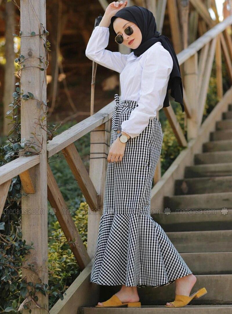 White - Black - Checkered - Unlined -  - Skirt