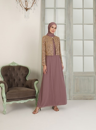 Dusty Rose - Unlined - Crew neck - Muslim Evening Dress - MEKSİLA
