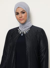 Navy Blue - Fully Lined - Crew neck - Muslim Plus Size Evening Dress