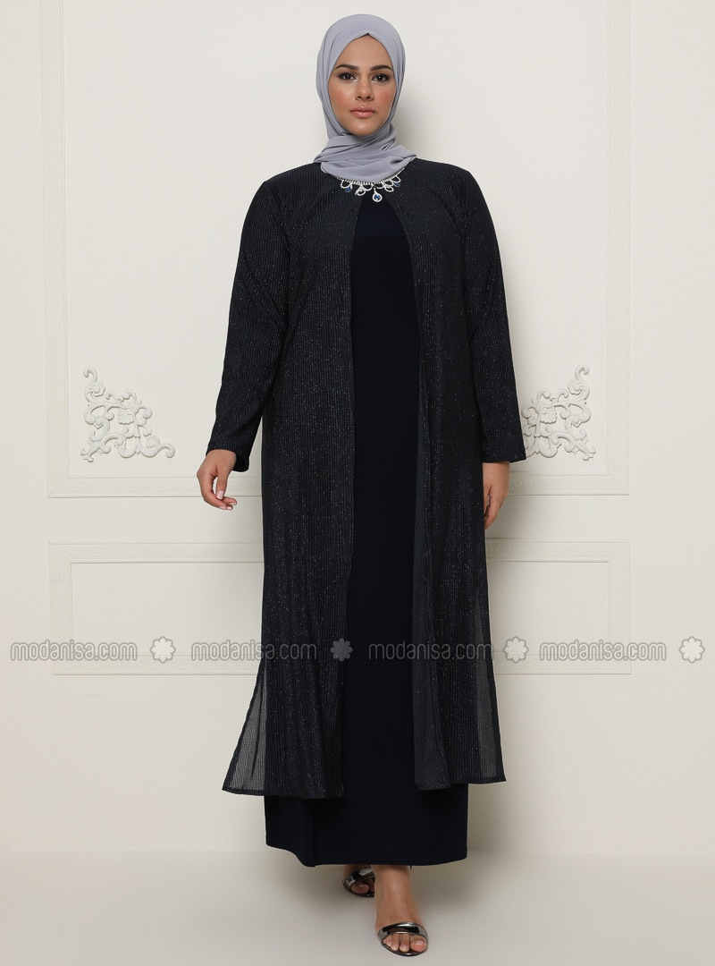 Navy Blue - Muslim Plus Size Evening Dress