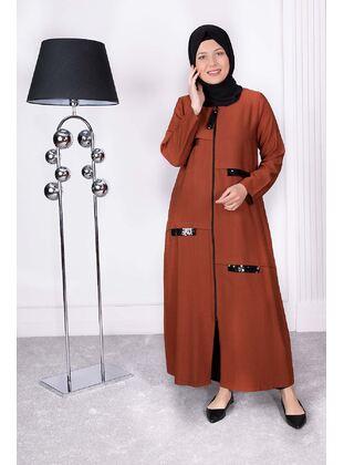 Tan - Plus Size Evening Abaya - BEHREM