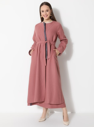 Pink - Fully Lined - V neck Collar - Topcoat