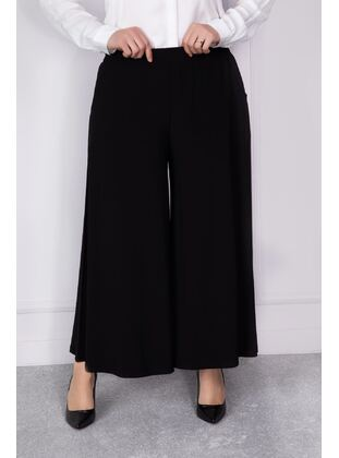 Black - Plus Size Pants - BEHREM