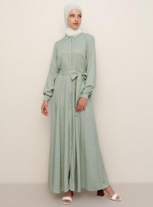 White - Green - Polka Dot - Point Collar - Unlined - Viscose - Dress