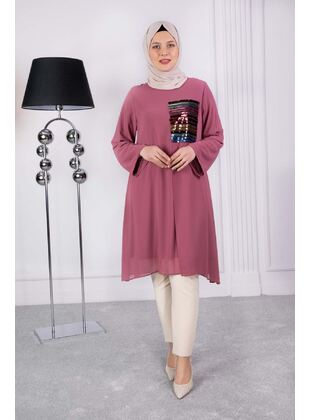 Dusty Rose - Plus Size Evening Tunics - BEHREM
