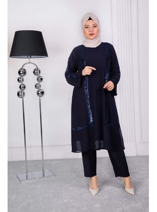 Navy Blue - Plus Size Evening Tunics - BEHREM