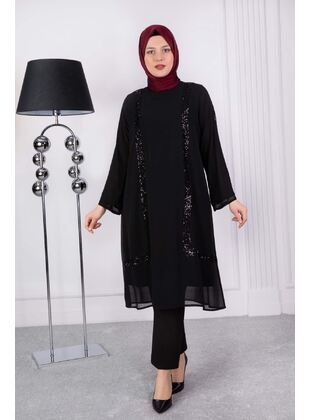Black - Plus Size Evening Tunics - BEHREM