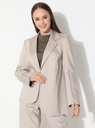 Beige - Fully Lined - V neck Collar - Jacket