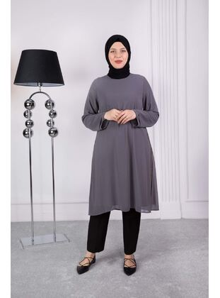 Gray - Plus Size Evening Tunics - BEHREM