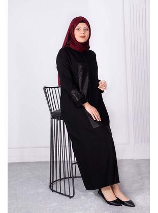 Black - Plus Size Evening Abaya - BEHREM