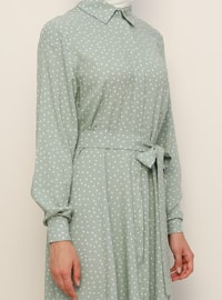 White - Green - Polka Dot - Point Collar - Unlined - Viscose - Dress