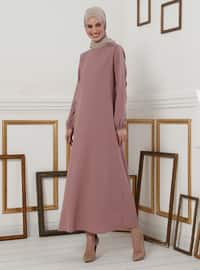 Sleeves Rubber Detailed Dress - Dusty Rose