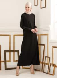Sleeves Rubber Detailed Dress - Black