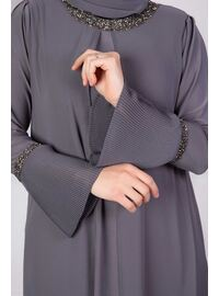 Gray - Muslim Plus Size Evening Dress