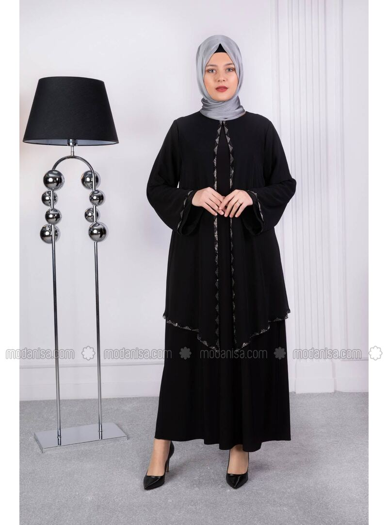 Black - Muslim Plus Size Evening Dress