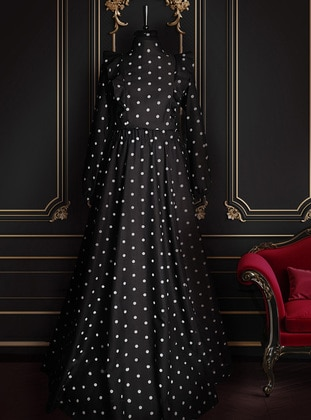 Black - Polka Dot - Fully Lined - Crew neck - Muslim Evening Dress