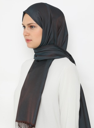 Brown - Petrol - Plain - Fringe - Shawl