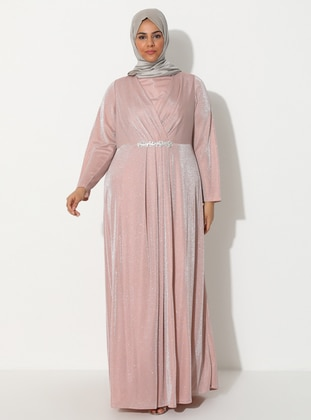 Powder - Fully Lined - Crew neck - Muslim Plus Size Evening Dress